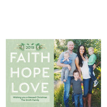 Faith, Hope, Love 2019 on Green Hallmark Holiday Photo Card