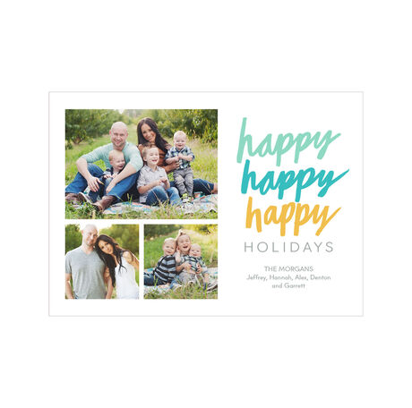 Happy, Happy, Happy Holidays Photo Collage Hallmark Card