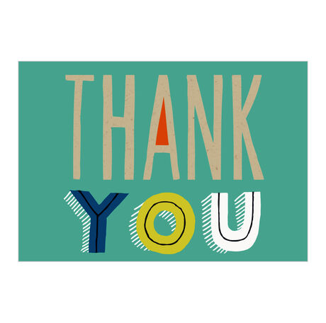 Thank You Card (Lettering on Teal) for Business