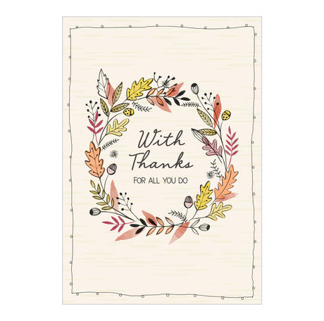Thanksgiving Appreciation Card (Fall Wreath with Thanks) for Employees