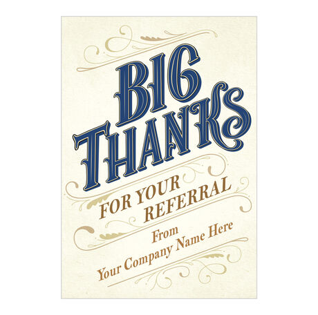 Big Thanks for Referral Personalized Cover Hallmark Card