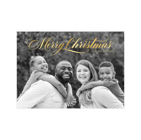 Brilliant Merry Christmas in Script Full Photo Hallmark Card
