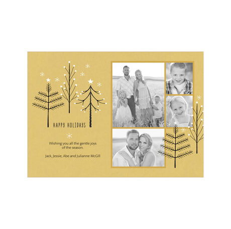 Happy Holidays Trees on Gold Hallmark Photo Collage Card
