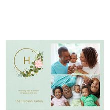 Modern Monogram Wreath Hallmark Christmas Photo Collage Card