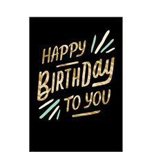 Golden Happy Birthday Lettering Business Hallmark Card