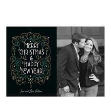 Merry Christmas, New Year Filigree Hallmark Photo Card