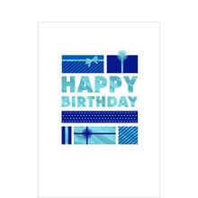 Blue Birthday Presents Business Hallmark Card