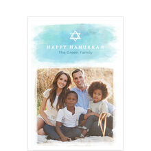 Watercolor Happy Hanukkah Hallmark Photo Card