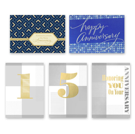 Assorted Work Anniversary Cards, 50 Pack
