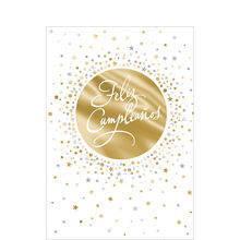 Gold and Silver Birthday Confetti Spanish Business Hallmark Card