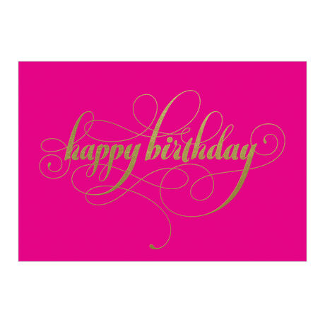 Images Happy Birthday Gold On Pink Business Hallmark Card