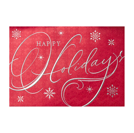 Red Silver Foil Happy Holidays Greeting Cards - Hallmark Business ...
