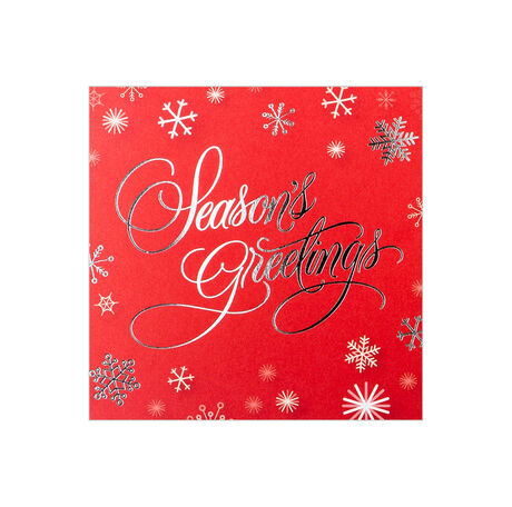 Snowflakes on Red Holiday Business Hallmark Card