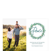 Peace In Green Wreath Hallmark Holiday Photo Card