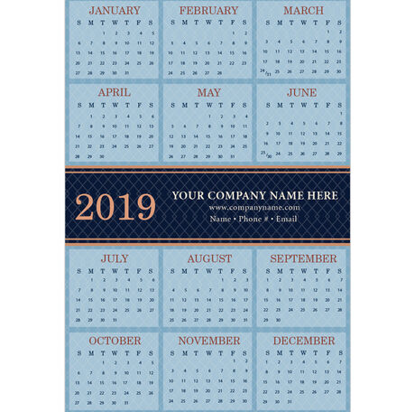 2019 Blue Diamond Paper Calendar Card