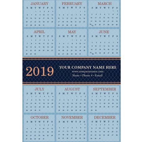 2019 Blue Diamond Magnetic Calendar Card