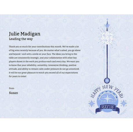 happy new year you can order awards without adding names or a message leave the fields blank as you personalize