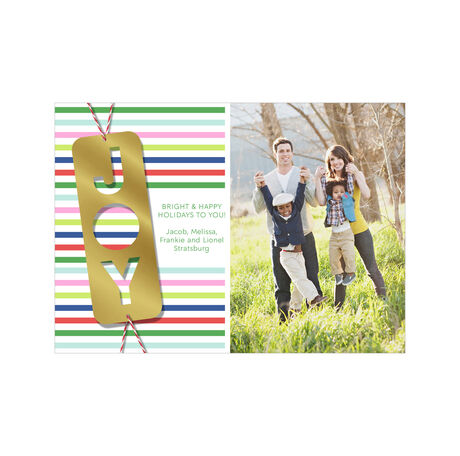 Gift of Joy on Colorful Stripes Hallmark Holiday Photo Card