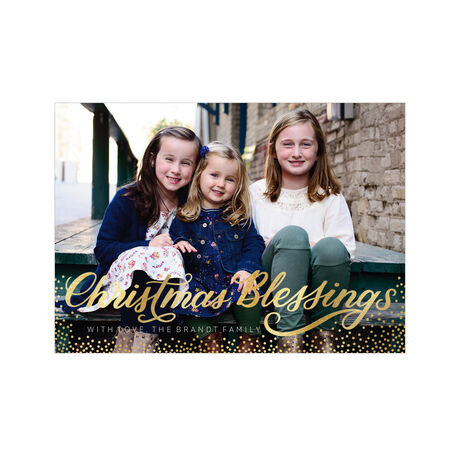 Shining Christmas Blessings and Dots Full Photo Hallmark Card