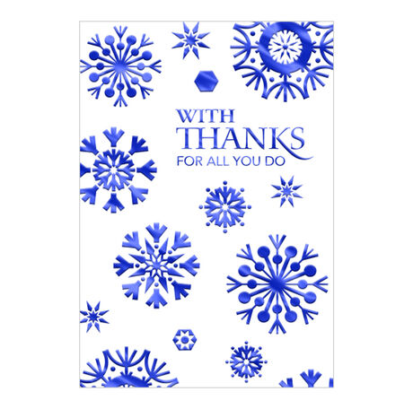 Thanks with Blue Snowflakes Holiday Business Hallmark Card