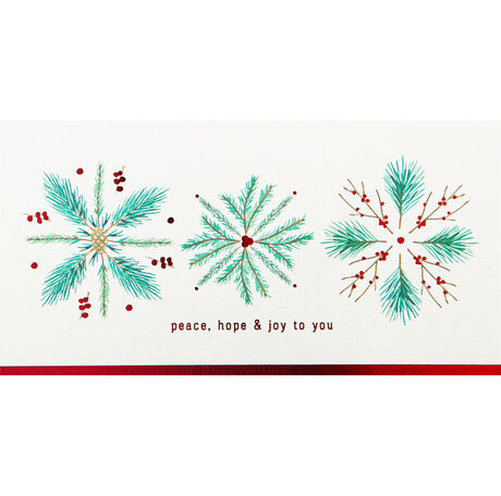 Peace, Hope, Joy Pine Snowflakes Holiday Hallmark Card