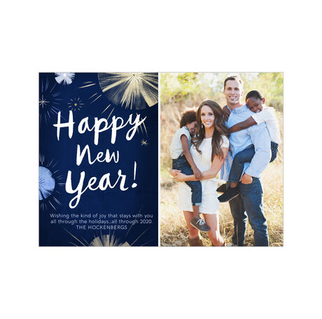Illustrated New Year Fireworks Hallmark Photo Card
