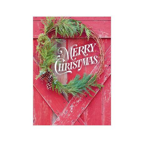Rustic Christmas Barn Door Business Hallmark Card