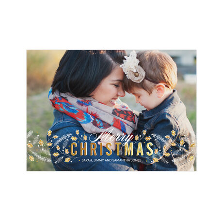 Gold Holly, White Pine Hallmark Christmas Full Photo Card