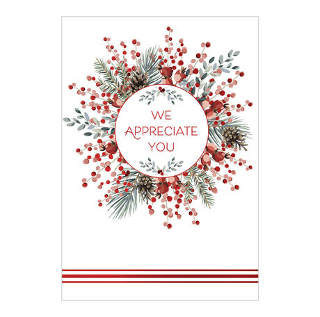 Holiday Appreciation Card (Berry & Evergreen Wreath) for Business