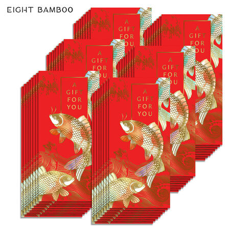 Golden Koi Fish Lai See Gift for You Red Envelopes, 48 Pack