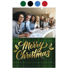 Merry Christmas Plaid Holiday Business Hallmark Photo Card