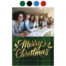 Merry Christmas Plaid Holiday Business Hallmark Photo Card