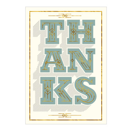 Big Thanks in Green and Gold Business Hallmark Card