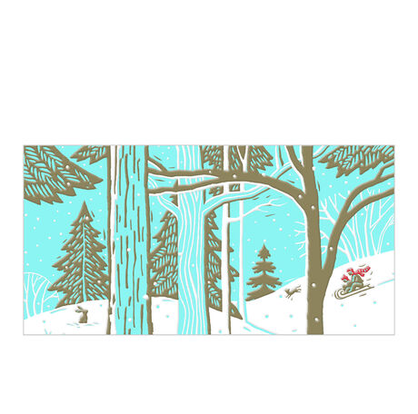 Sledding in the Woods Holiday Business Hallmark Card