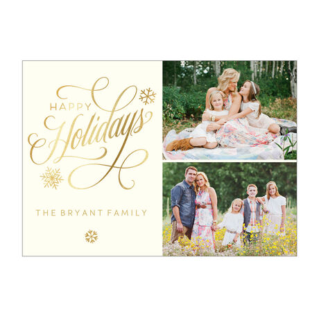 Elegant Happy Holidays Business Photo Collage Card