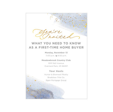 Watercolor and Foil Design Your Own Business Invitation