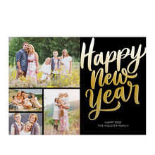 Happy New Year in Gold Ombré Hallmark Photo Collage Card