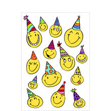 Smiley Faces in Birthday Party Hats Business Hallmark Card