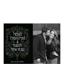 Merry Christmas, New Year Filigree Business Photo Card