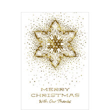 Gold Snowflake Thankful Merry Christmas Hallmark Card