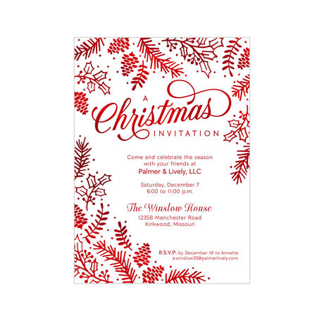 Christmas Pines Design Your Own Business Hallmark Invitation