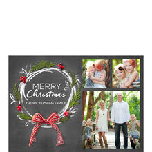 Pine and Chalk Wreath Hallmark Christmas Photo Collage Card