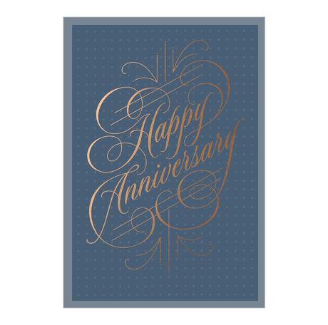 Copper Calligraphy Work Anniversary Hallmark Card