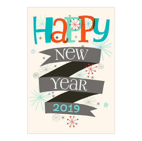 Retro Stars 2019 New Year Business Holiday Card