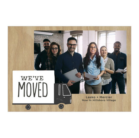 Moving Truck Office Relocation Announcement Hallmark Photo Card