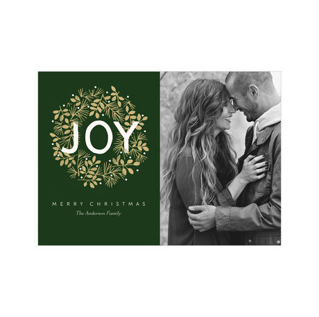Joy Wreath on Green Hallmark Christmas Photo Card