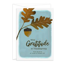 Customizable Thanksgiving Card (Gratitude, Acorn) for Business