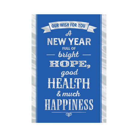 Silver New Year Wish on Blue Business Hallmark Card