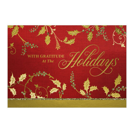 Premium Holiday Card (Gold Holly Gratitude) for Business