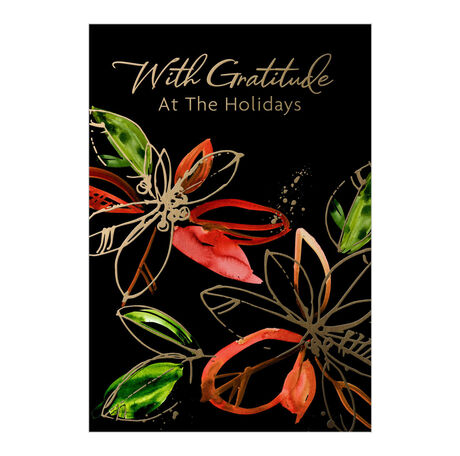 Red & Gold Poinsettias on Black Holiday Appreciation Card